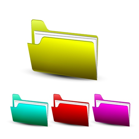 Vector coloful shiny folder icon, different colors Stock Vector - 17826486