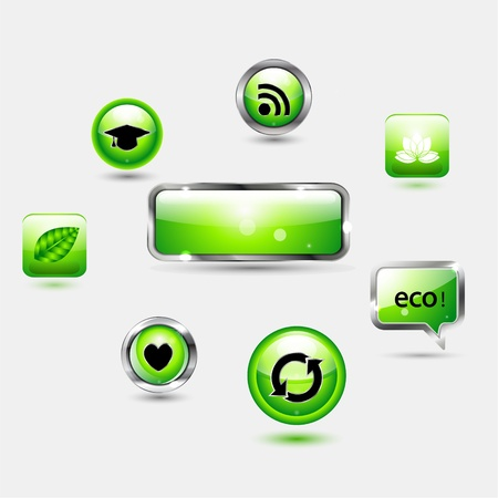 Shiny green buttons Stock Vector - 17827050