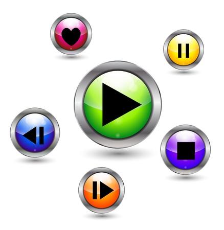 VEctor media player buttons Vector