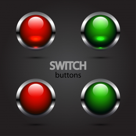 Vector glossy power buttons Stock Vector - 17810789