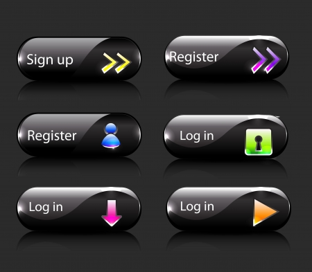 click button: Vector register  subscribe buttons Illustration