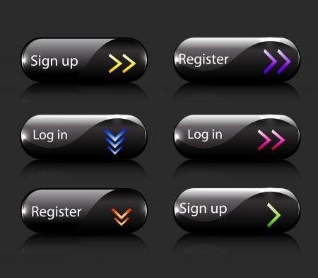 Vector register  subscribe buttons Illustration