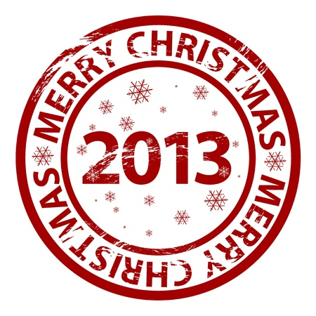 Vector Merry Christmas rubber stamp