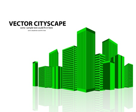 Vector 3d cityscape on shiny background Stock Vector - 17826610