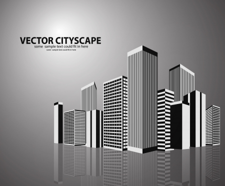 Vector 3d cityscape on shiny background
