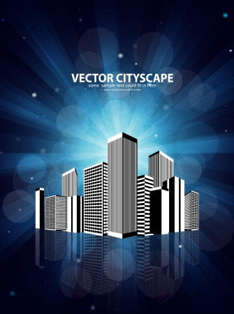 coeur: Vector 3d cityscape on shiny background