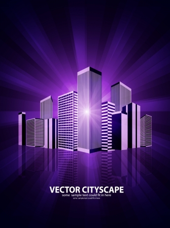 Vector 3d cityscape on shiny background Vector
