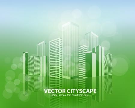 horizon over land: Vector 3d cityscape on shiny background
