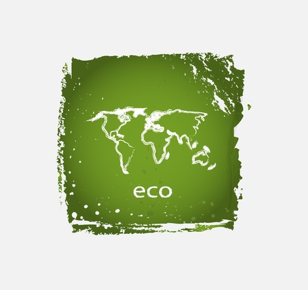 office product: Green grunge eco nature vector icons