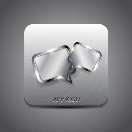 Vector forum message application metal icon