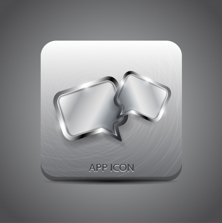 Vector forum   message application metal icon Stock Vector - 17827187