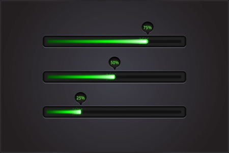 Vector shiny progress bars on black Vector