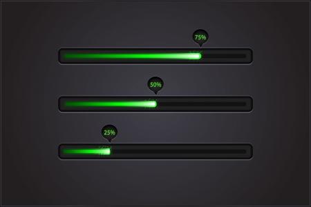 Vector shiny progress bars on black