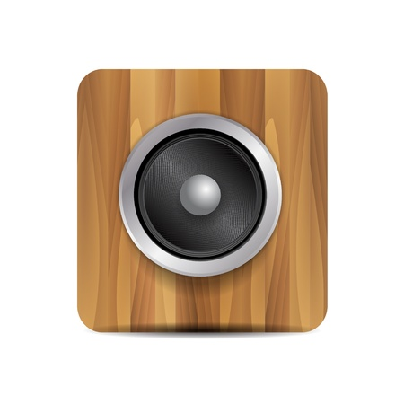 Vector loudspeaker on wood Vector