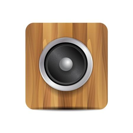 speaker box: Vector loudspeaker on wood Illustration
