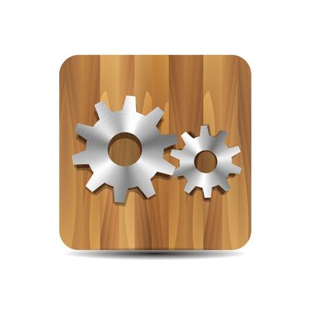 Settings   administrator   cogwheel on wood Vector