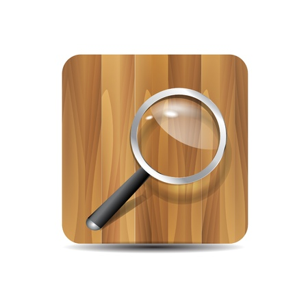 Vector search icon  magnifying glass on wooden background Stock Vector - 17827340