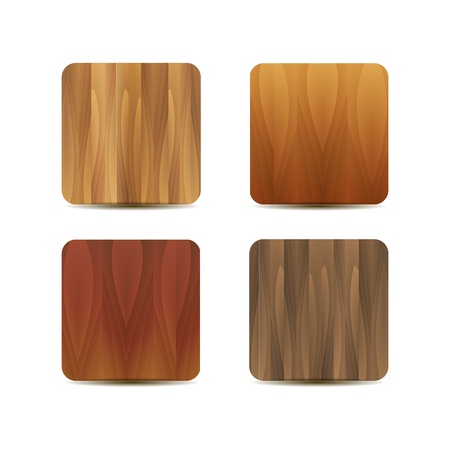 Wooden texture blank application icons Stock Vector - 17827393