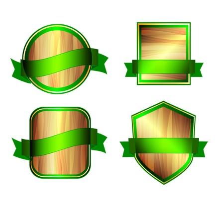Vector wooden labels Stock Vector - 17827332