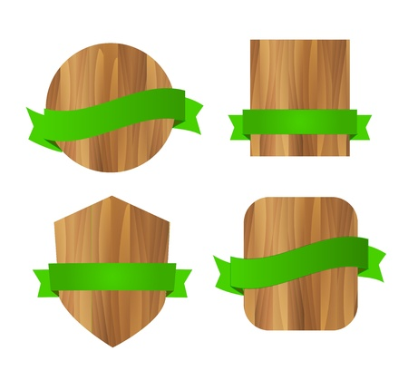 Nature eco green wooden labels Vector