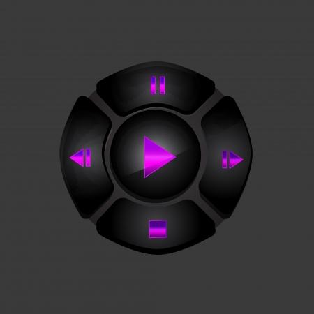 media player: Black media player buttons Illustration