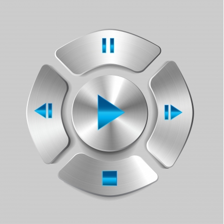Shiny metal media player joystick (play, pause, stop buttons) Illustration