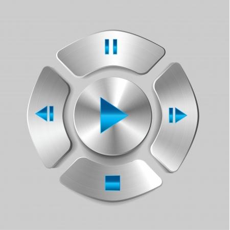 Shiny metal media player joystick (play, pause, stop buttons) Illustration