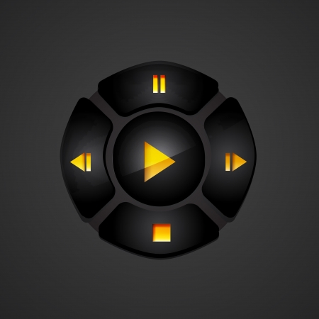 Black media player buttons Vector