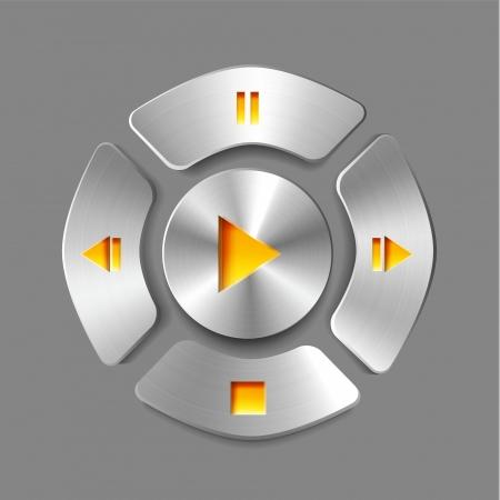 Shiny brushed metal media player joystick Stock Vector - 17827337
