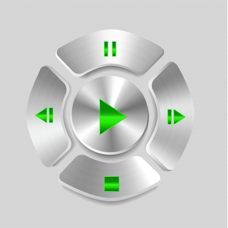 media center: Shiny metal media player joystick Illustration
