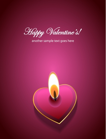 symbol on a dark background: Vector Valentines day background: heart candles