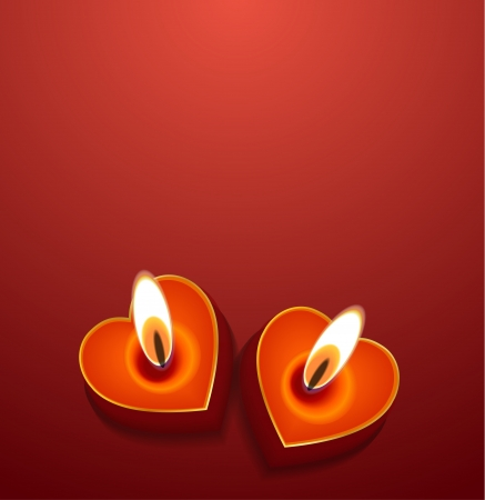Vector Valentine's day background: heart candles