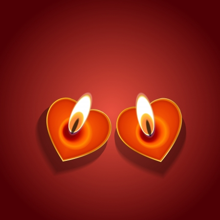 Vector Valentines day background: heart candles Vector