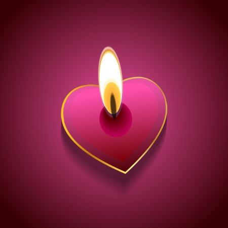 bougie coeur: Day background vecteur de la Saint-Valentin: bougies de coeur