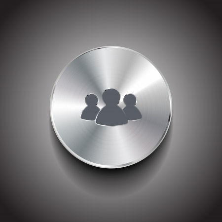 Vector brushed metal member button Vector