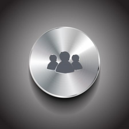 chrome man: Vector brushed metal member button