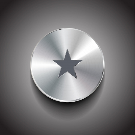 liked: Vector star brushed metal button