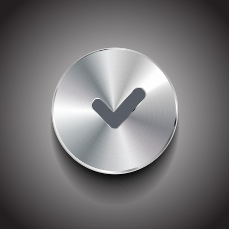 tick icon: Vector check sign brushed metal button Illustration