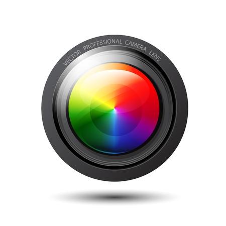 camera shutter: Vector rainbow camera lens