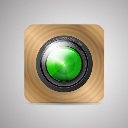 Vector camera application (lens on wooden backrground) Vector