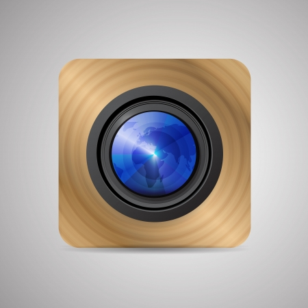 Vector camera application (lens on wooden background) Vector