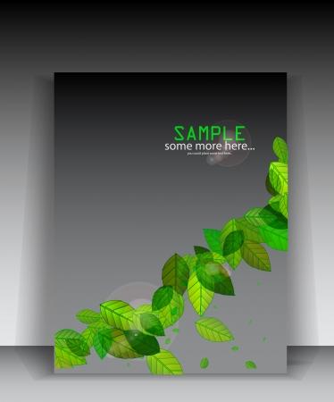 Green leaves brochure Stock Vector - 17863530