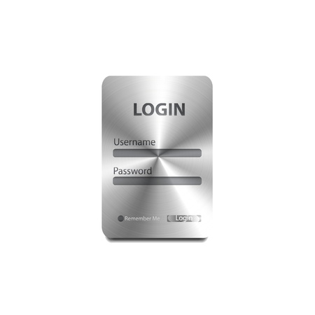 login button: Vector metal login form Illustration
