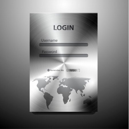 submit button: Vector metal login form Illustration
