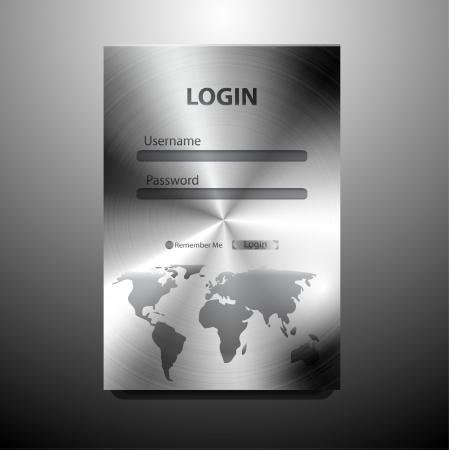 Vector metal login form Ilustrace