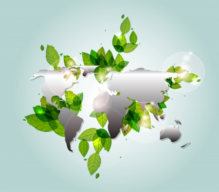 Earth map green leaves Stock Vector - 17863529