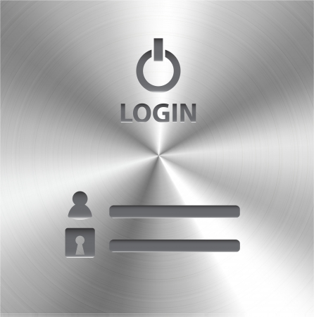 aluminium wallpaper: Vector login form on brushed metal
