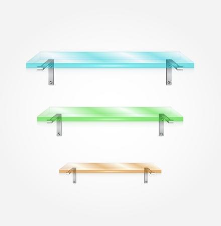 Vector glass shelves Stock Vector - 17863336