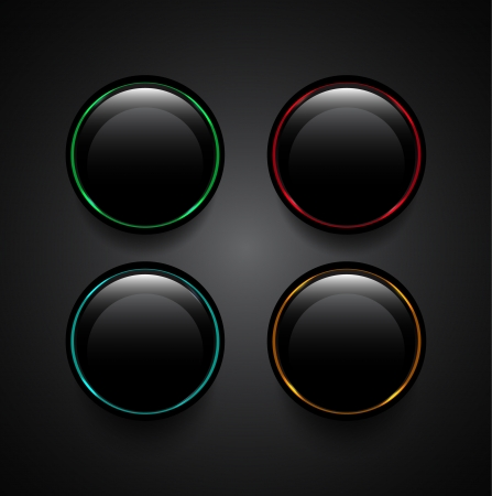 Glowing black vector buttons Stock Vector - 18053619