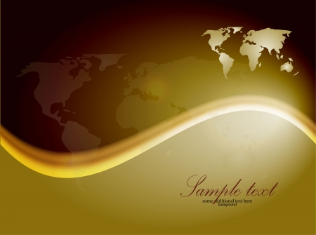 Shiny wave background with world map Vector